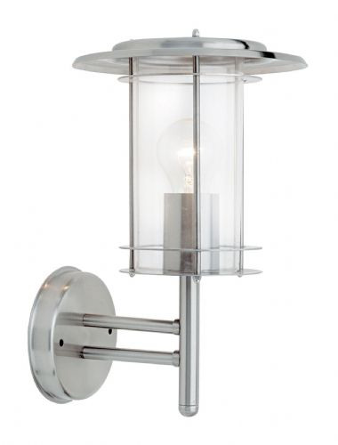 Polished stainless steel & clear Polycarbonate Outdoor Wall Light 4478182 by Endon